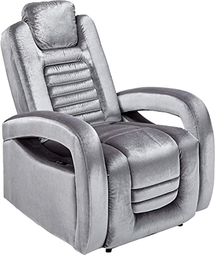 Major-Q 42 H Contemporary Style Silver Velvet Pocket Coil Seat Motion Recliner with Power Push Button and USB Charge Dock Armrest