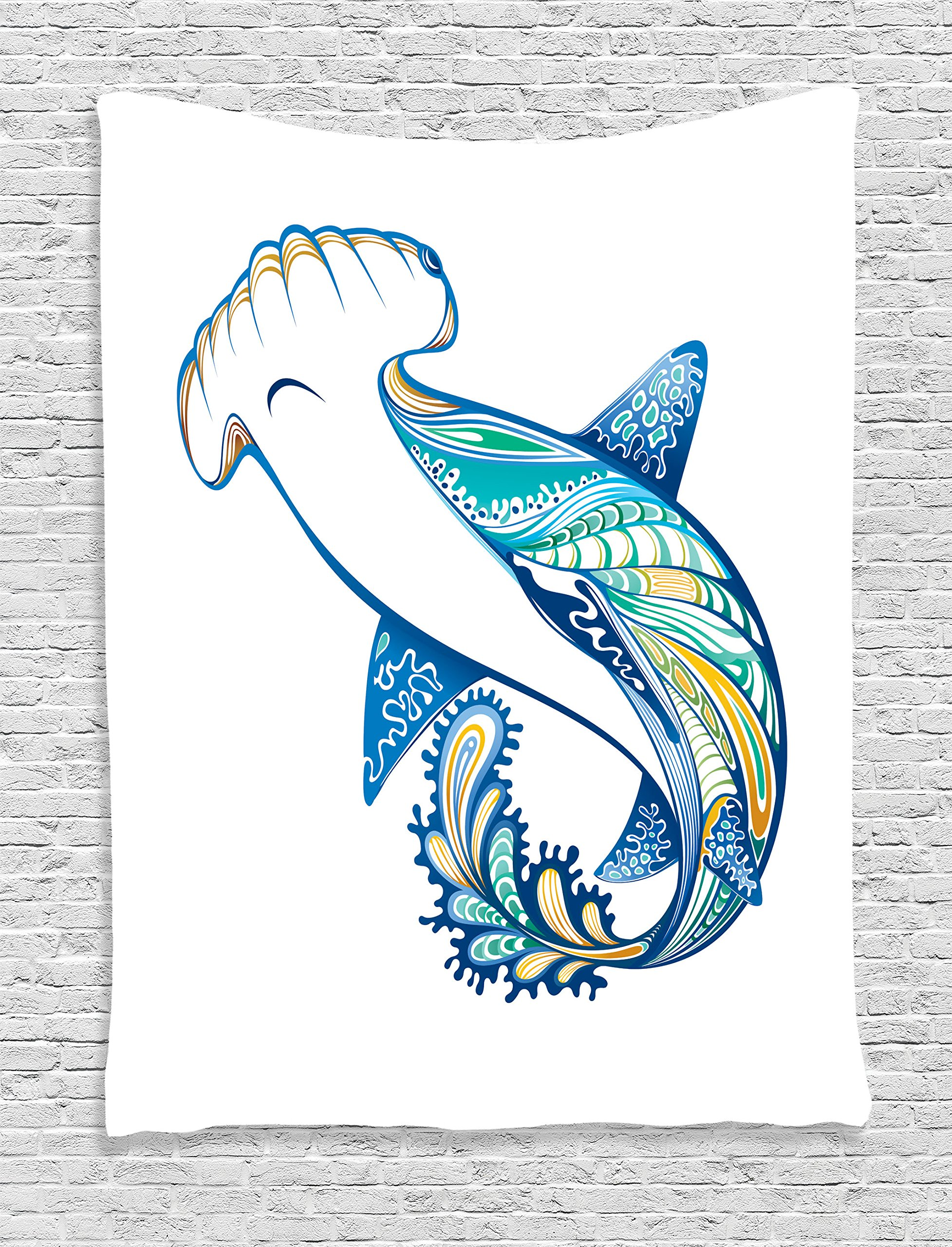 Ambesonne Abstract Home Decor Tapestry Wall Hanging, Hammer Head Shark Ornate Underwater Sea Ocean Life Animals Marine Theme Image, Bedroom Living Room Dorm Decor, 60 x 80 inches, Blue Aqua White