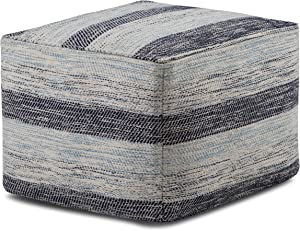SIMPLIHOME Clay Square Pouf, Footstool, Upholstered in Patterned Blue Melange Hand Woven Cotton, for the Living Room, Bedroom and Kids Room, Transitional, Modern