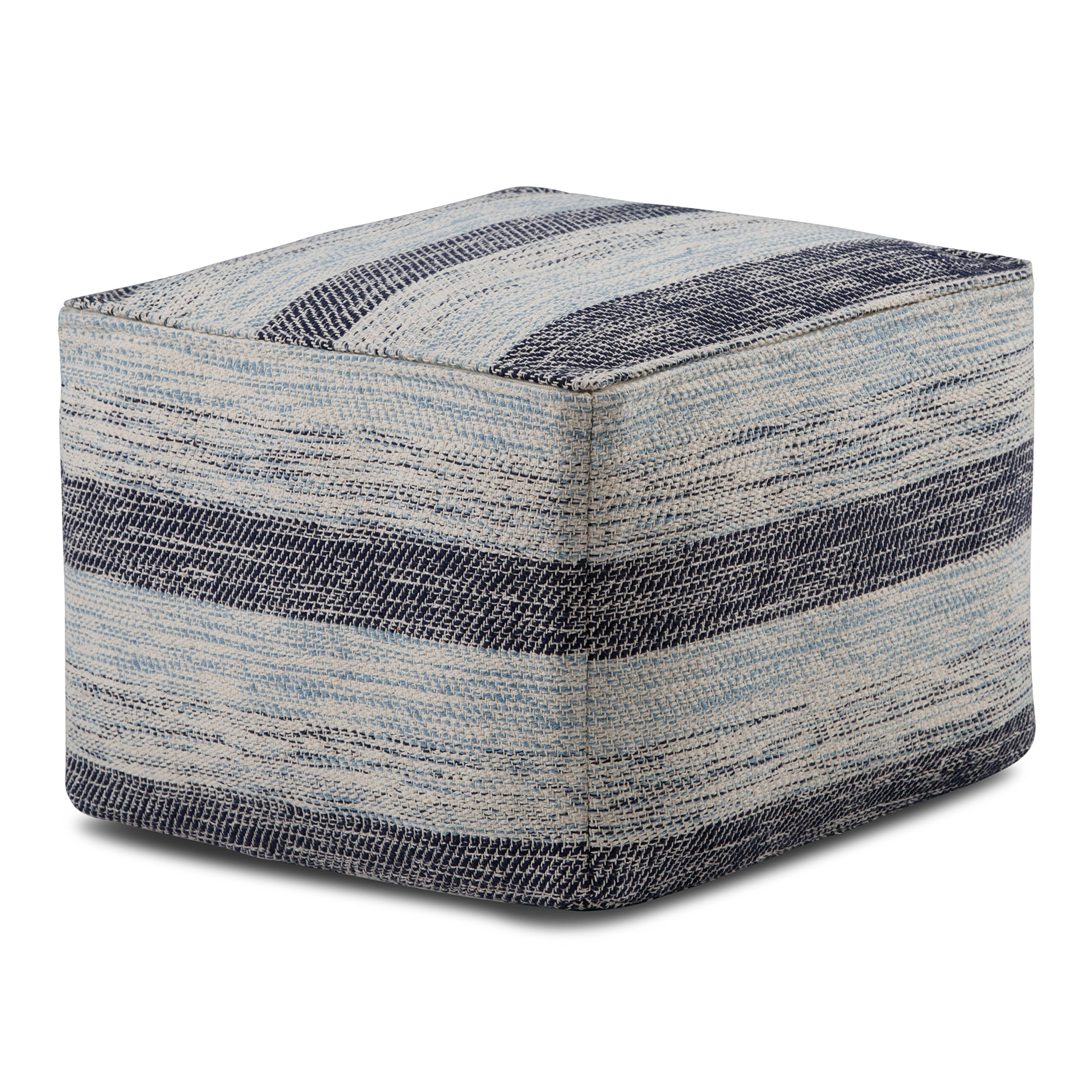 Simpli Home Clay Square Pouf, Patterned Blue Melange