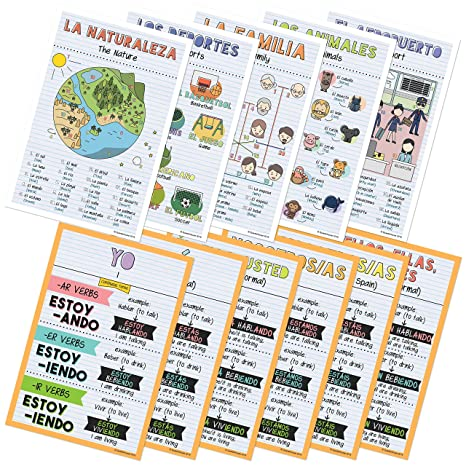 Amazon.com : Spanish Verbs & Beginner Vocabulary Classroom Variety Posters, Set of 11, 12 x 18 inches (Set E) : Office Products