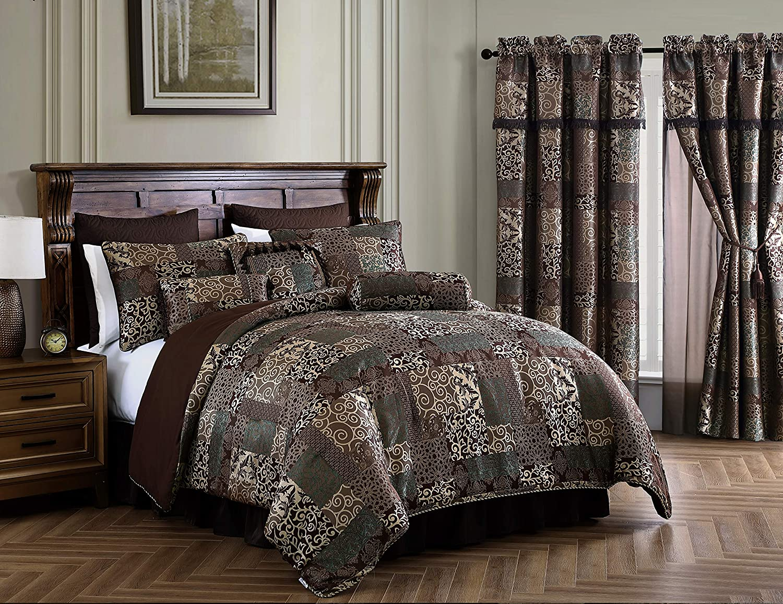 Brown//Teal Chezmoi Collection Amelia 9-Piece Floral Jacquard Patchwork Comforter Set Queen