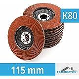 10 Stück Fächerscheiben 115 mm Körnung 80 Fächerschleifscheibe Braun Schleifmopteller