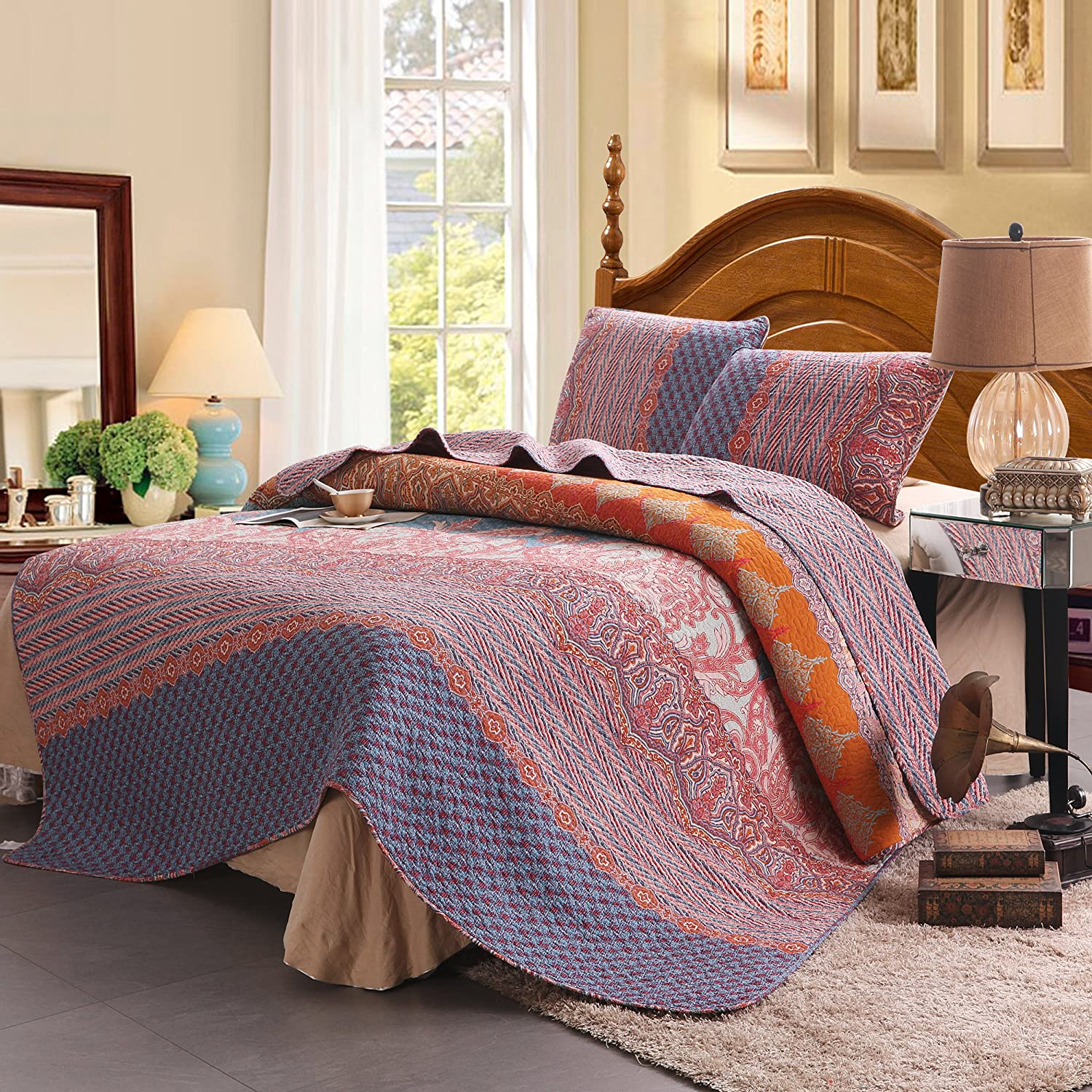 100% Cotton 3-Piece Chic Boho Quilt Set Reversible& Decorative - Full/Queen Size by Exclusivo Mezcla SYNCHKG115836