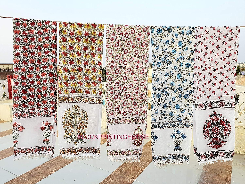 Amazon Com 100 Cotton Hand Block Print Scarf Scarves Wraps Lot Of 6 Pcs Handmade