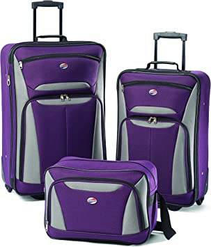 Set Of 3 Rollercase Suitcases Purple New
