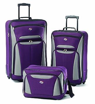 acc07872c Amazon.com | American Tourister Luggage Fieldbrook Ii 3 Pc Set, Purple/Grey  | Luggage Sets