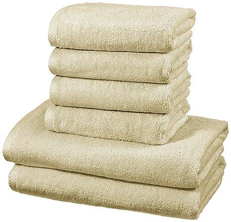 AmazonBasics - Juego de 6 toallas de secado rápido, 2 toallas de baño y 4