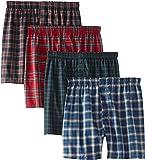 Hanes Men's 4-Pack FreshIQ Plaid Boxer with ComfortFlex Waistband-Assorted Colors