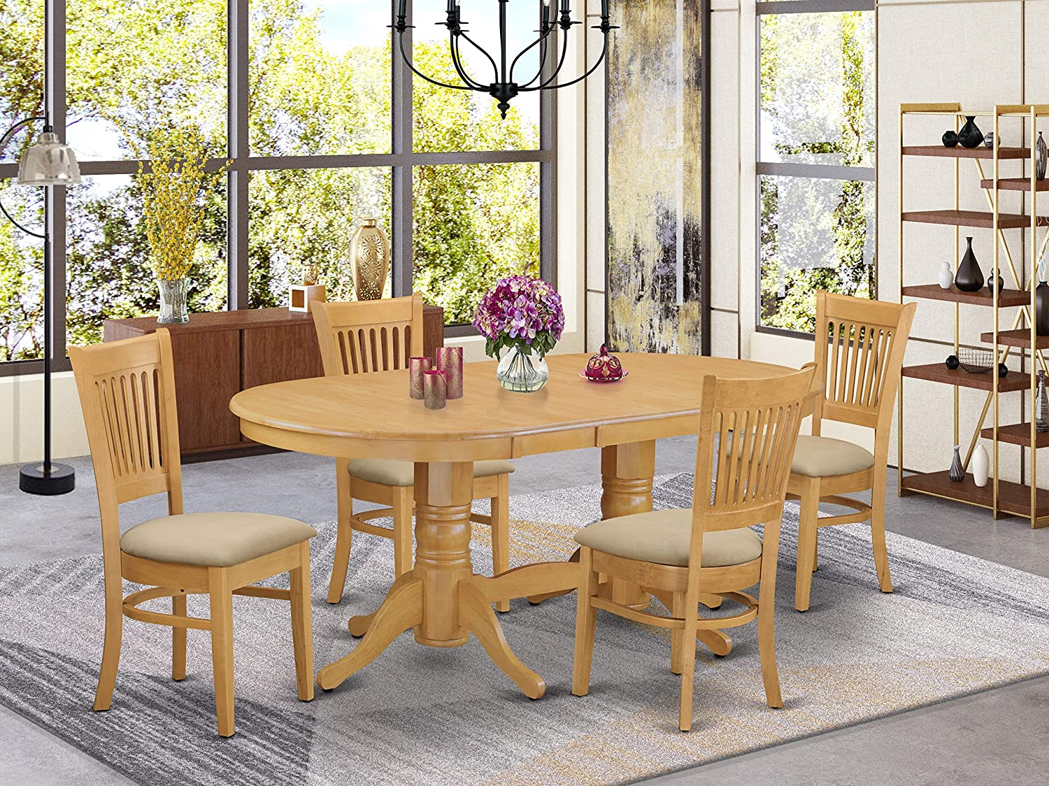 10 Pc Dining room set Table with Leaf and 10 Chairs for Dining
