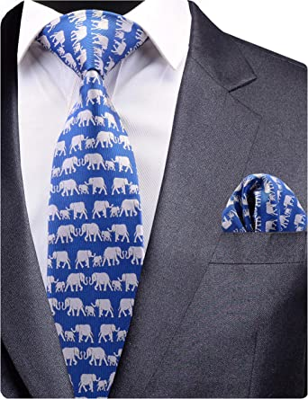 Men Detailed Indian Elephant Classic Casual Tie Necktie