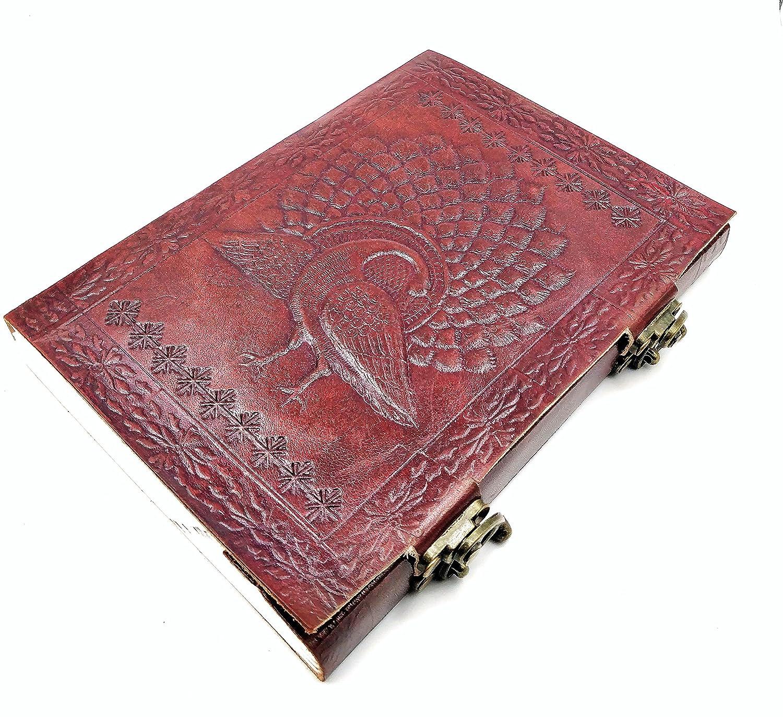 Grimoire Libro Kooly Zen/ Album Vera Pelle Pavone Quaderno da Disegno o di Schizzi /taccuino carta Premium 15/cm x 20/cm Giornale Libro d Oro doppia chiusura Scrapbook Blocco note