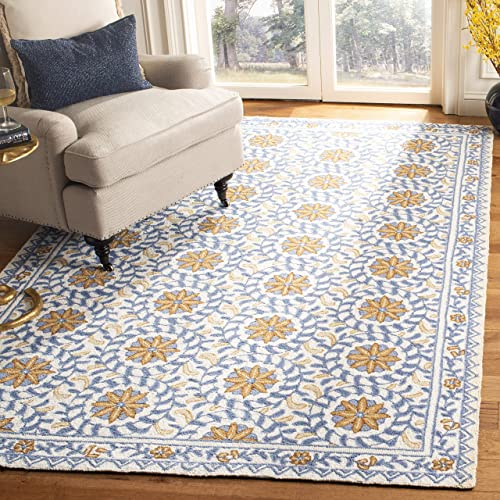 Safavieh Chelsea Collection HK150A Hand-Hooked Ivory and Blue Premium Wool Area Rug 8'9″ x 11'9″