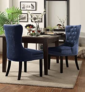 Iconic Home Diana Dining Side Accent Chair Button Tufted Velvet Upholstery Nail Head Trim Tapered Espresso Wood Legs, Modern Transitional, Blue, Set of 2