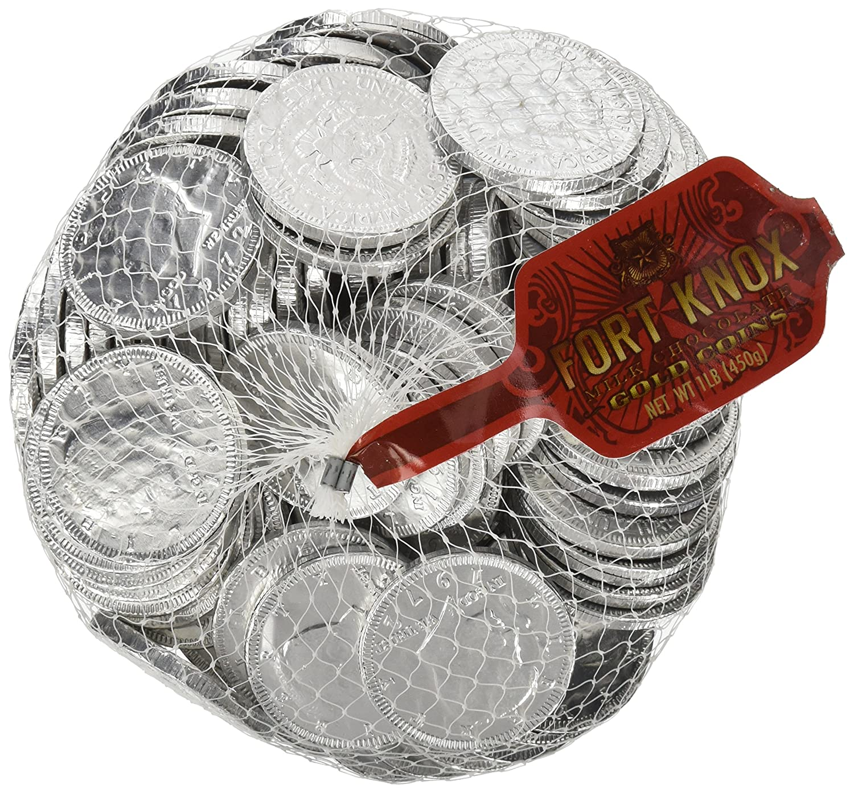 Amazon.com : Silver Milk Chocolate Coins, 1 lb. bag, 91 coins ...