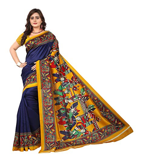 eaf41b742dbca Jaanvi fashion Silk with Blouse Piece Saree (warli-Prints-Blue-ct ...