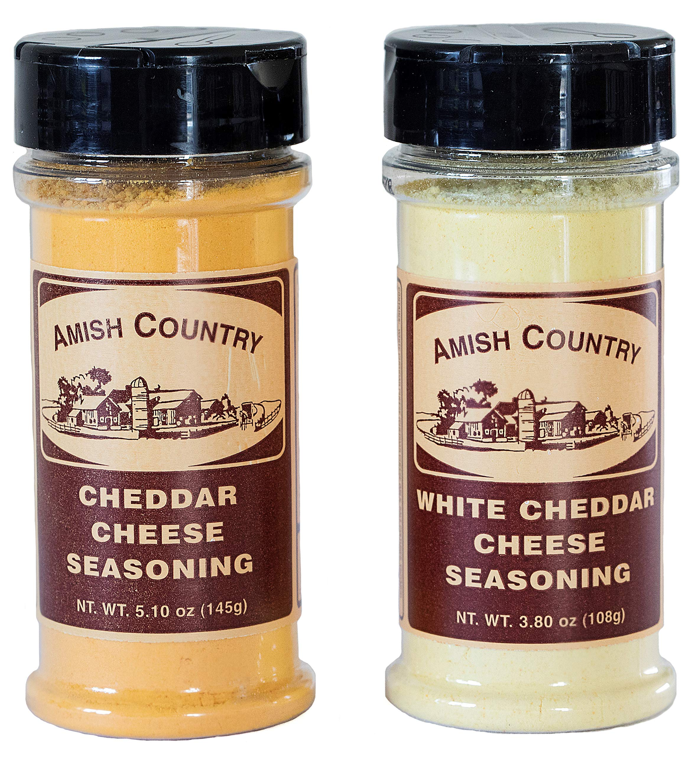 Amish Country Popcorn - Cheddar & White Cheddar Popcorn Seasoning (2 Pack) with Recipe Guide