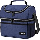Insulated Dual Compartment Lunch Bag for Men, Women | Double Deck Reusable Lunch Box Cooler with Shoulder Strap, Leakproof Li
