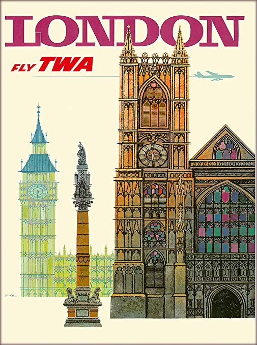 Amazon.com: Londres Inglaterra Trans World Airlines Fly TWA ...