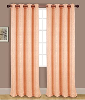 RT Designers Collection Acadia Jacquard Grommet Curtain Window Panel, 54 X  90 Inches, Peach