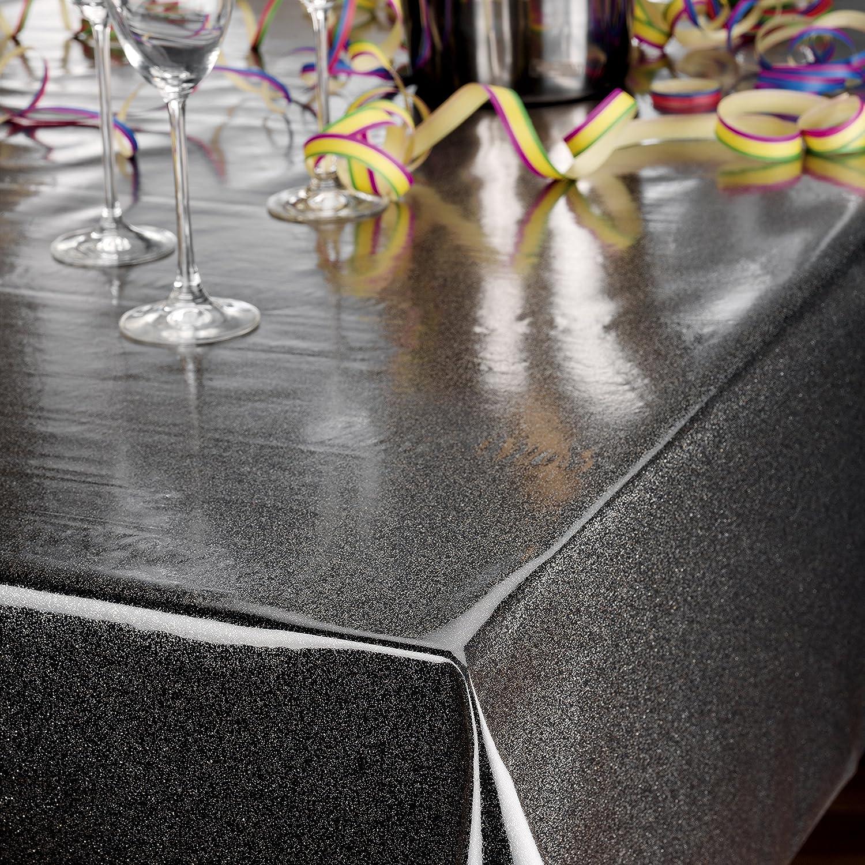 Transparente Folie Tischdecke 0,22 mm Glitter Glitzer Regenbogen Größe wählbar