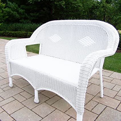 Fabulous Amazon Com Oakland Living Resin Wicker Loveseat White Ocoug Best Dining Table And Chair Ideas Images Ocougorg