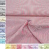 MAGAM-Stoffe Baumwoll-Stoff ''Amelie'' Streifen aus 100% Baumwolle - Vichy-Muster in Bester Öko-Tex Qualität - Meterware ab 50cm - FX (03. Rot)