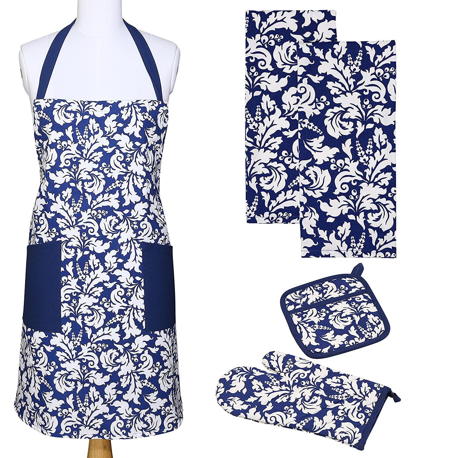 Yourtablecloth Kitchen Gift Set-1 Kitchen Apron, An Oven Mitt & A Pot Holder-2 Kitchen Dish Towels or Tea Towels-Ideal Cooking Gifts or Gift Ideas for Chefs-Suitable for Men & Women-Nautical Blue