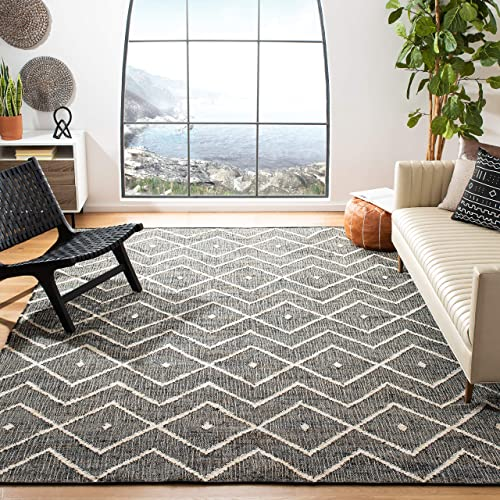 Safavieh KLM750H-8 Kilim Collection KLM750H Charcoal and Natural Premium Wool 8' x 10' Area Rug