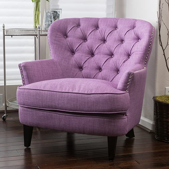 Christopher Knight Home 296539 Alfred Tufted Fabric Club, Contemporary Lounge Accent Chair, Light Purple