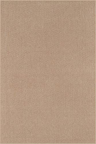 Indoor Outdoor Carpet with Heavy Duty Non Slip Backing Area Rugs Beige – 8 x10