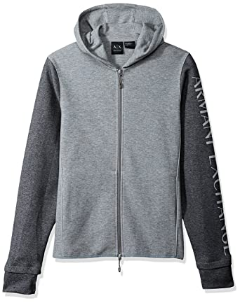A|X Armani Exchange Mens Heathered Long Sleeve Logod Hoodie, Grey/