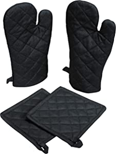 Native Fab Farmhouse Oven Mitts and Pot Holders Set of 4, Heat Resistant Non-Slip Machine Washable, 100% Cotton Kitchen Pot Holders Oven Mitts Sets Black