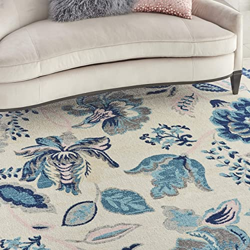 Nourison TRA02 Tranquil Eclectic Floral Ivory Light Blue Area Rug 8 10 X 11 10 , 9 x 12
