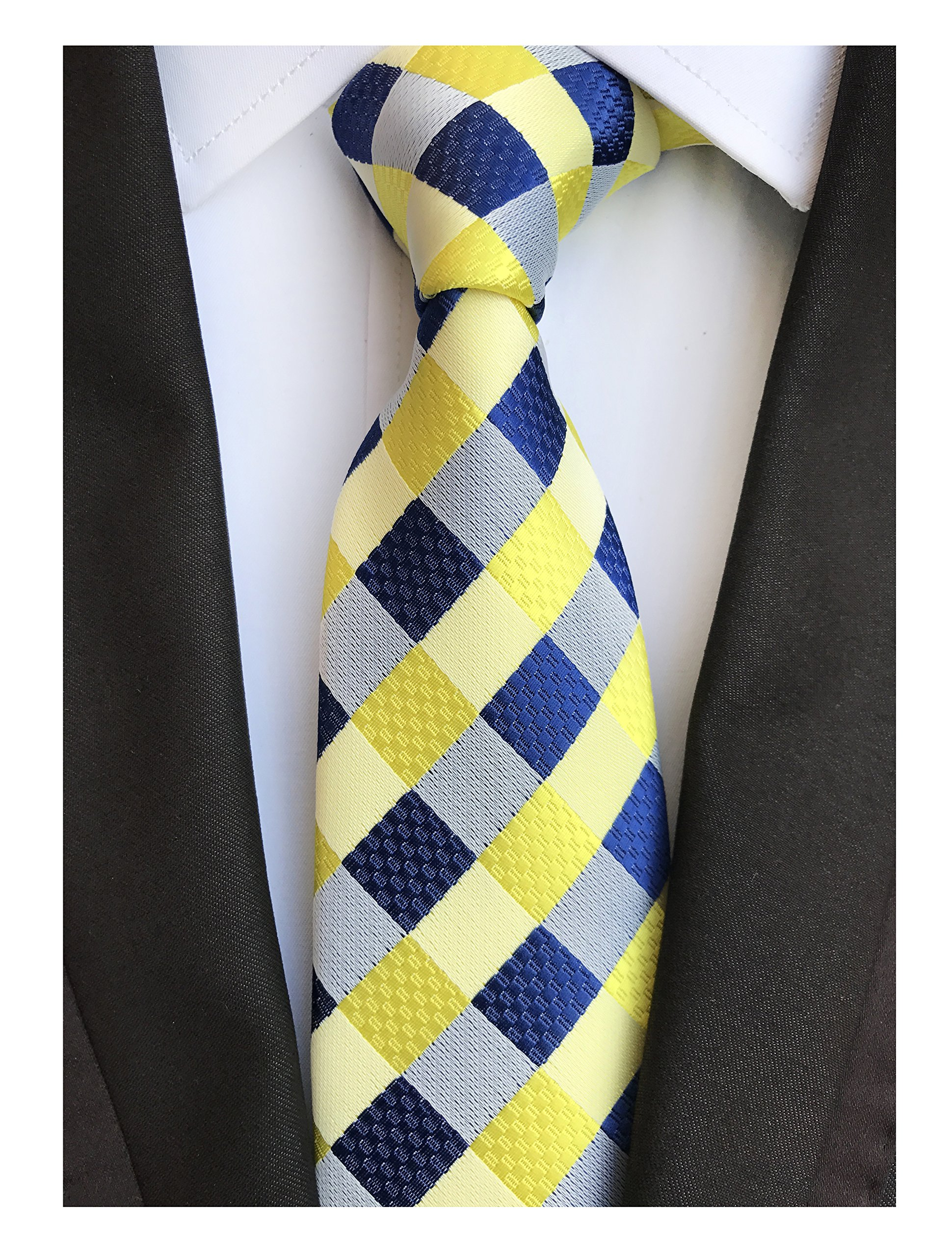 Mens Navy Blue Yellow Fashion Style Designer Inspired Tie Pretty Birthday Gifts