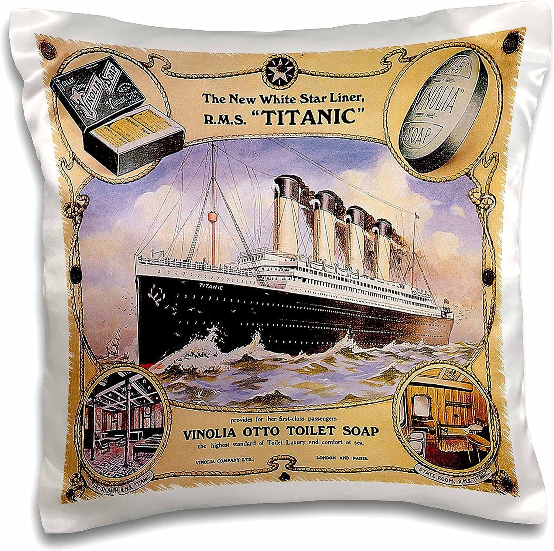 """3dRose Vintage White Star Line Titanic Vinolia Otto Toilet Soap Advertising Poster-Pillow Case, 16 by 16"""" (pc_149245_1)"""