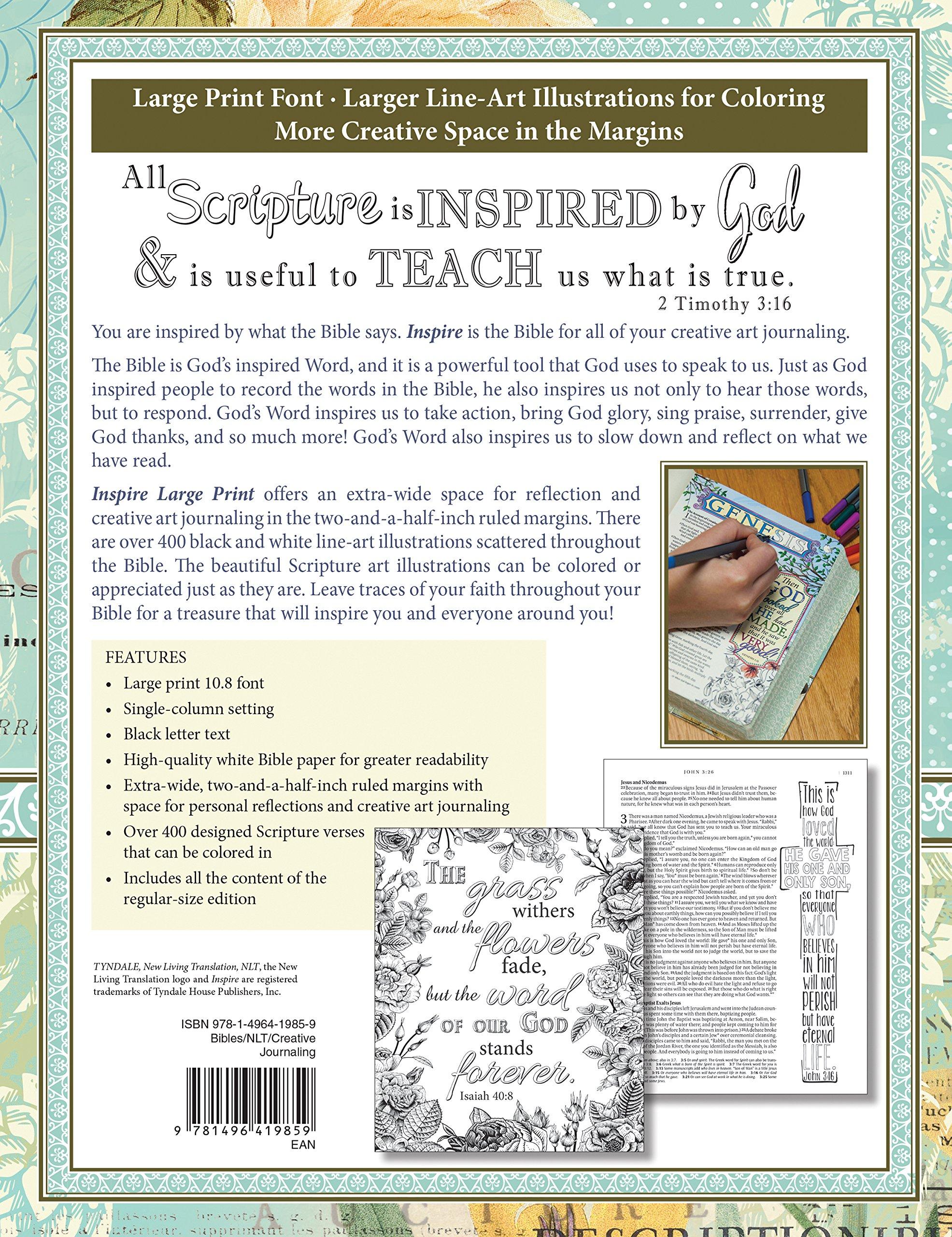 Inspire Bible NLT The For Creative Journaling Large Print Amazoncouk Tynda Christian Art 9781496419859 Books