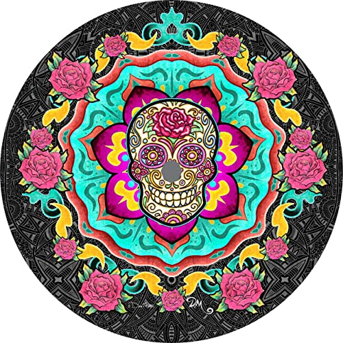 TIRE COVER CENTRAL Sugar Skull Rose Spare Tire Cover Select tire Size Back up Camera Option in MENU Custom Sized to Any Make Model Dan Morris c 255 75r17 Back up Camera Opening