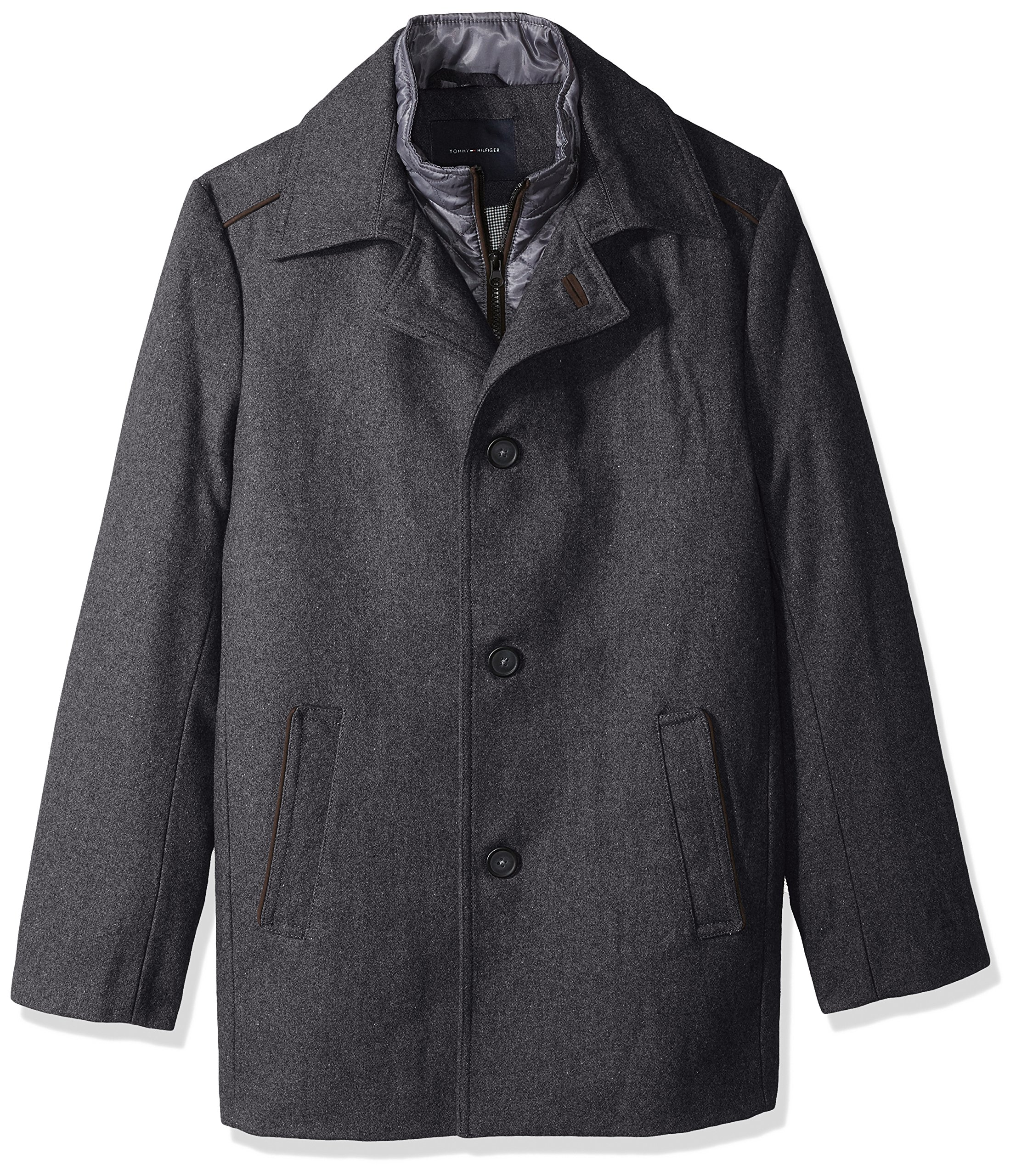 Tommy Hilfiger Men's Briggs 32 inch Top Coat with Quilted Bib, Charcoal, 38S