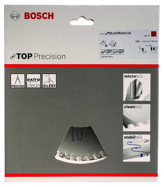 48 Hoja de sierra circular Top Precision Best for Multi Material 165 x 20 x 1,8 mm pack de 1 Bosch 2 608 642 388