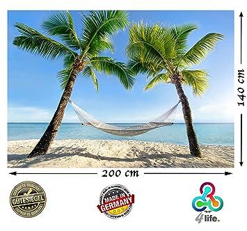 2 Teilige Fototapete Strand Hängematte Zwischen Palmen Am Meer HD XXL Foto  Tapete 200cm