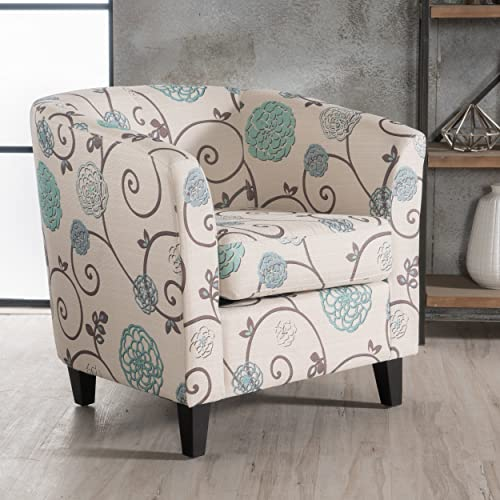 Christopher Knight Home Preston Arm Chair, White Blue