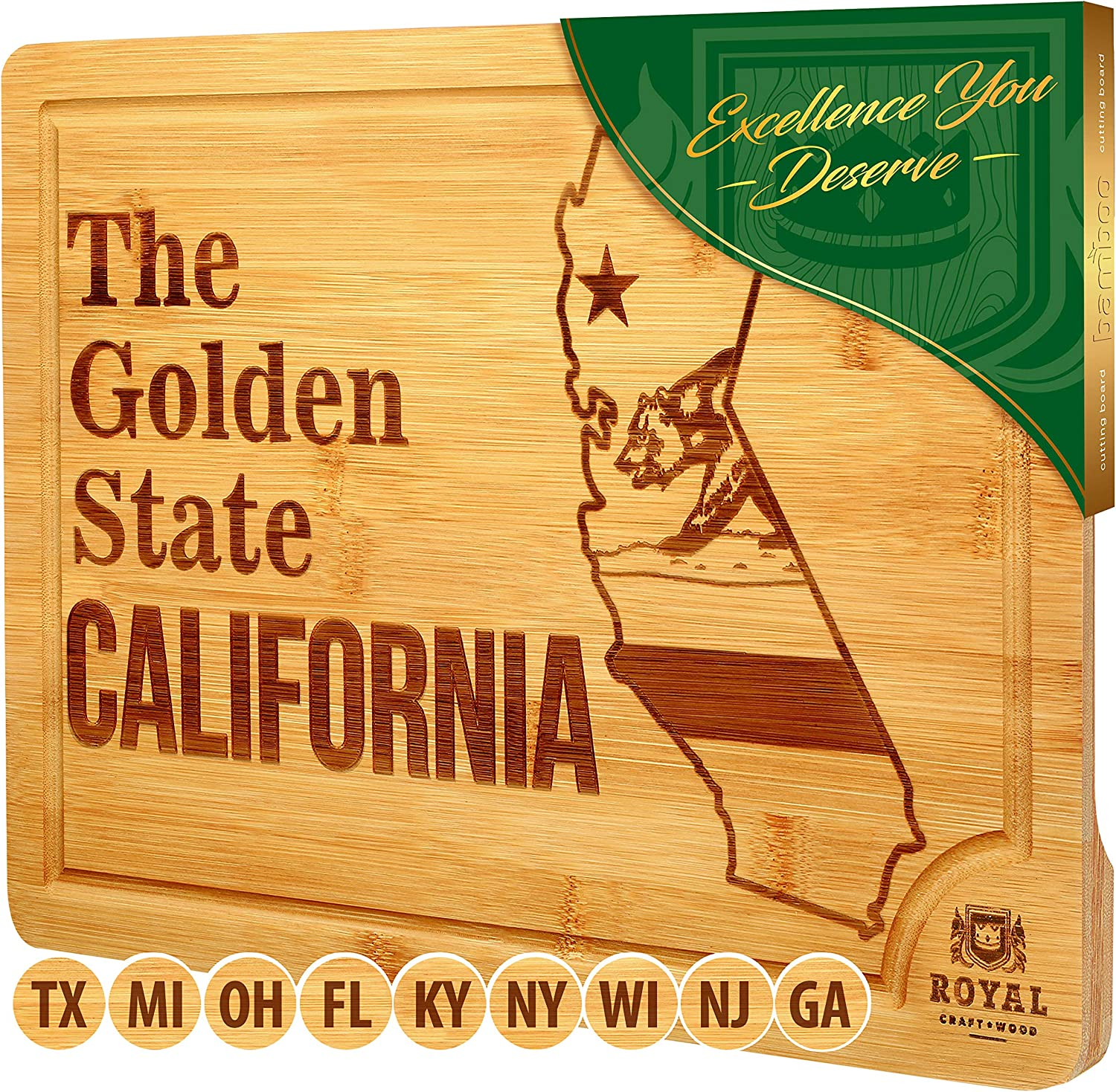 Bamboo State Cutting Board for Kitchen – California Cheese Board, Charcuterie Platter & Serving Tray, (15