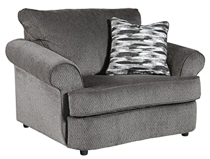 Benchcraft   Allouette Casual Chair And A Half   Oversized Accent Chair  With Throw Pillow