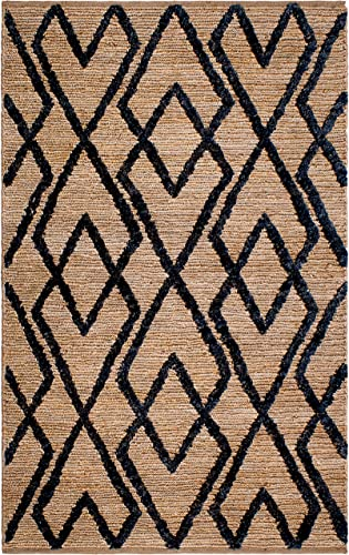 Fab Habitat, Sustainable Jute Cotton Area Rug Floor Mat, Eco-Friendly Natural Fibers, Handwoven Anatolia Soumak Rug – Charcoal 8 x 10