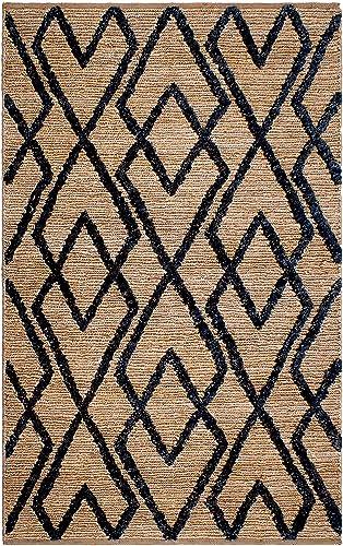 Fab Habitat, Sustainable Jute Cotton Area Rug Floor Mat, Eco-Friendly Natural Fibers, Handwoven Anatolia Soumak Rug – Charcoal 6 x 9