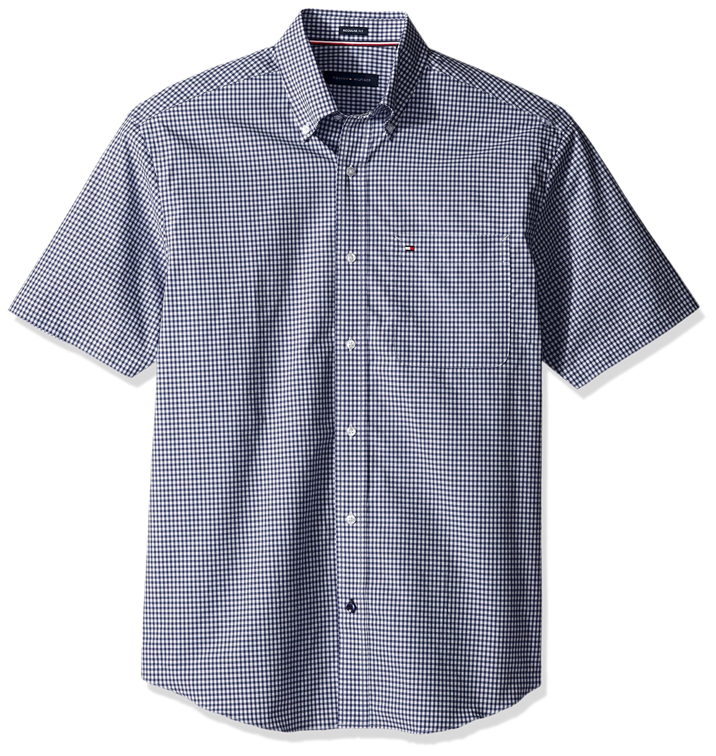 Tommy Hilfiger Men's Short Sleeve Button-Down Shirt, Riviera Blue, 16.5'' Neck