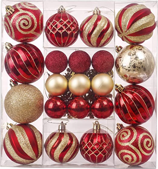 Christmas Handmade Luxury 8cm Tree Baubles Red /& Silver Decoration Orniment