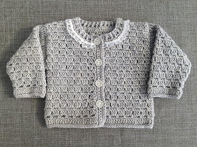 Amazoncom Gray Baby Jacket Crocheted Baby Cardigan Vintage Style