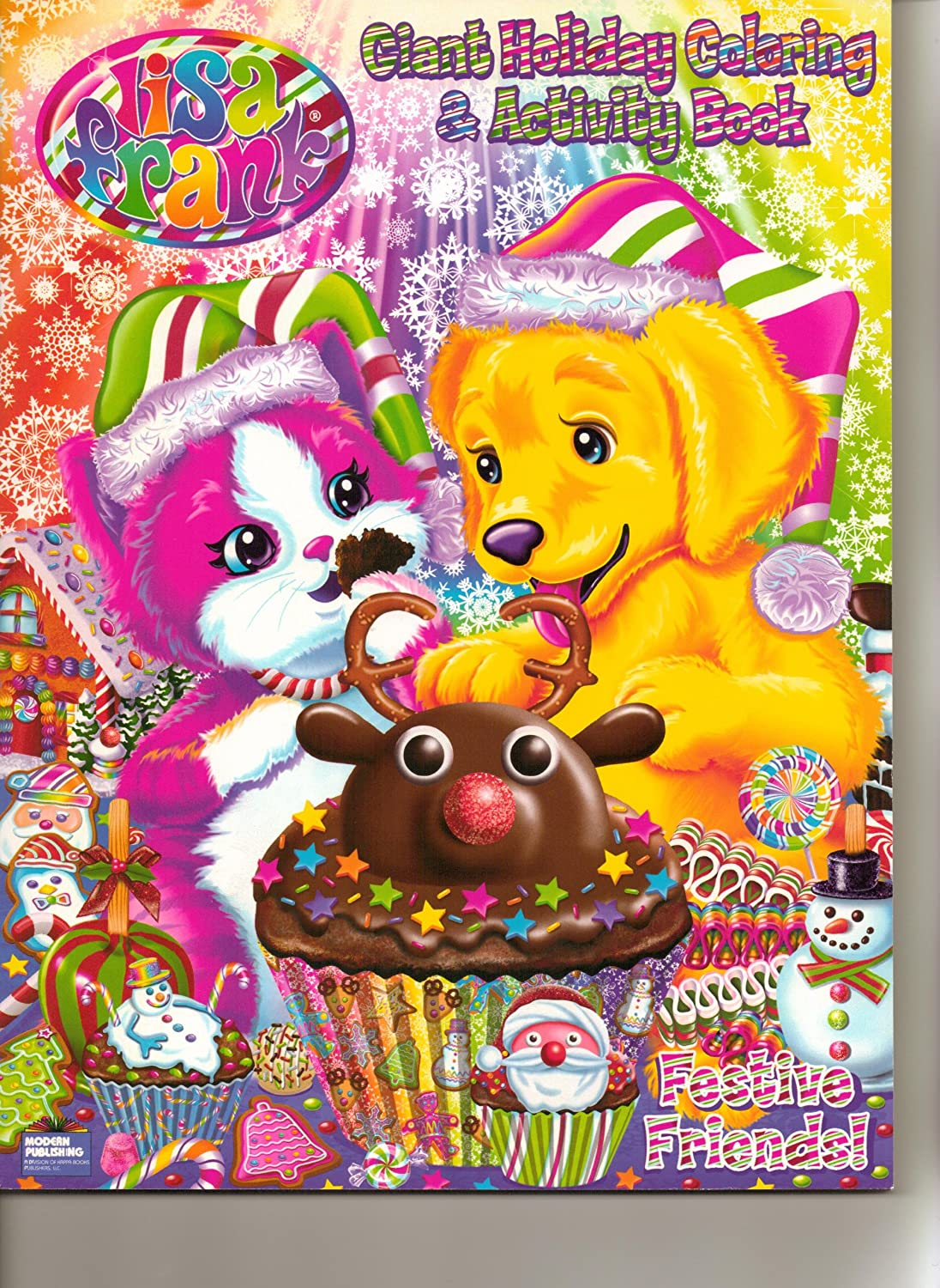 Amazon Lisa Frank Giant Coloring Activity Book Set Of 2 Festive Friends Winter Wonderland Toys Games